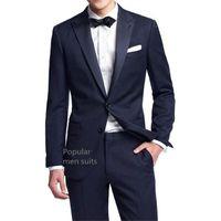 свадебные платья оптовых-New Arrival Navy Blue Men Suit Slim Party Dress Groomsmen Tuxedo For Beach Wedding Young Mens Daily Work Wear(Jacket+Pants+Tie)