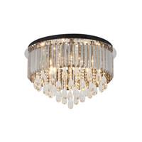 candelabros grises al por mayor-Lámpara de cristal gris ahumado ahumado de lujo que ilumina las lámparas modernas de la placa negra luces luces llevadas del techo para el dormitorio de la sala de estar