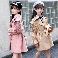 bahar giyim koreası toptan satış-Kız WINDBREAKER ceketler İlkbahar Sonbahar Çocuk Pamuk Uzun Trençkot Kore Çocuk Dış Giyim Giyim için Kız 6 8 12