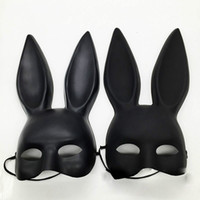 ingrosso costume coniglietto nero della ragazza-Black Mark Women Sexy Girl Bunny Ears Cute Rabbit Mask Long Ears Maschera Halloween Masquerade Party Cosplay
