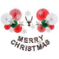 ingrosso fan di carta rosa-Merry Christmas Decoration Set Xmas Snow Decor invernale Navidad Christmas Banner Paper Fiocchi di neve fan 2020 nuovo