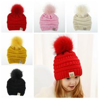 Wholesale black baby girl hats caps for sale - Group buy Solid color cute baby girls big fur ball caps warm knitting Beanies cap Kids Girls Boys toddler fashion crochet hats in winter