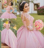 Princess Pink Lace Wedding Dress Illusion Long Sleeve Beadings Waist Pearls Ball Gown Dubai 2020 Bridal Gowns Custom Plus Size