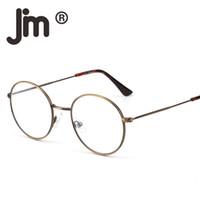 pc okuma lensleri toptan satış-Retro Yuvarlak Bilgisayar Okuma Gözlükleri Metal Çember Çerçeve Oyun Gözlük Dijital Ekran UV400 için Anti Mavi Işık Lens