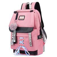 sacos de escola para meninas venda por atacado-Lona Sacos De Escola Usb Para Meninas Adolescentes Mochila Mulheres Bookbags Preto 2019 Grande Capacidade Médio High College Teen Schoolbag