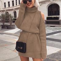 Wholesale cashmere turtleneck dress for sale - Group buy Autumn Winter Turtleneck Off Shoulder Knitted Sweater Dress Women Solid Slim Plus Size Long Pullovers Knitting Jumper