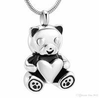 urso jóias homens venda por atacado-IJD10070 Pet Memoria Jóias Para Cinzas - Urso Segure Coração Lembrança de Aço Inoxidável Urna Pingente Para As Mulheres Homens Colar de cremação