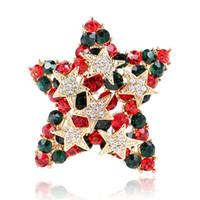 Wholesale decorative rhinestone brooch resale online - Fashionable Euro American Fashionable Clothing Creative Christmas Five Star Decorative Brooch