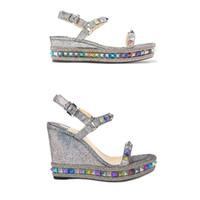sandalias de tacón con brillo plateado al por mayor-Diseñadores Alpargatas Sandalias de cuña Mujeres de la parte inferior roja Zapatos de tacón alto Plataforma Verano de lujo plateado con purpurina Zapatos de cuero 25 Color