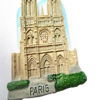 aufkleber paris großhandel-Notre Dame de Paris Kühlschrankmagnete Paris Famouse Landschaftskühlschrank-Aufkleber-Geschenk-moderner Hauptküchen-Dekor-Großverkauf