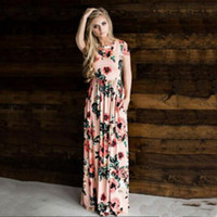 Wholesale womens petticoats resale online - New Summer Dresses Women Floral Printed Short Long Sleeve Boho Dress Evening Gown Party Long Maxi Petticoat Womens Clothing size S XL