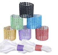 ingrosso maglie a rete-Wholesale-10pcs 8 Row Mesh Bow Covers con chiusura Bling portatovagliolo diamante strass Wedding Chair telai archi Hogard