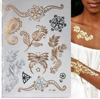 ingrosso fiori di henné-Autoadesivo del tatuaggio di Taty Design del fiore del henné del tatuaggio dell'oro del tatuaggio temporaneo metallico istantaneo caldo del flash