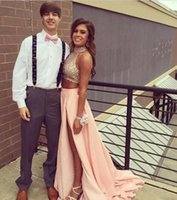 Wholesale stunning two piece prom dresses resale online - 2019 New Two Pieces Prom Dresses Real Image Bling Bling Sequin High Neck Stunning A Line High Side Split Evening Gowns Fitted Prom Dresses