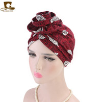 Wholesale cancer beanies resale online - New Elegant Cotton D Flower Turban women beanie Chemo Cancer Cap Turbantes Headwear Bandana Wedding Party Hair Accessory