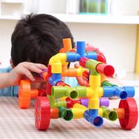 трубопроводная вода оптовых-Образовательные DIY Водопровод Строительные Блоки Сборка Трубопровода Туннеля Пластиковые Блоки Игрушки для Детей Подарки Детские игрушки