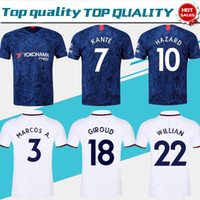 Wholesale seasons soccer jersey resale online - 2019 KANTE Home Blue soccer Jerseys HIGUAIN GIROUD soccer shirts New Season Away White football uniforms customized On Sale