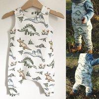 monos babys al por mayor-2019 Summer New Babys Jumpsuits 6M-24M algodón recién nacido Baby Boy Girl Dinosaur Romper Jumpsuit Ropa trajes