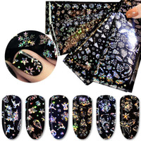 transferblätter großhandel-4 Blatt Holographic Nail Art Transfer-Aufkleber-Abziehbilder Neujahr Traumfänger Schneeflocke Rosen-Blumen-Nagel-Folien-Laser-Nagel-Dekor