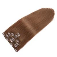 7a sınıfı düz saçlı malezya tüyü toptan satış-Sınıf 7A Işlenmemiş Bakire Malezya Saç Düz İnsan Saç Uzantıları Klip 7 adet / takım # 6 Orta Kahverengi Saç Uzantıları Klip 18