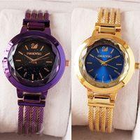 nueva pulsera swarovski al por mayor-Con Caja Nuevo Reloj de Diseño de Alta Calidad SWAROVSKI Para Relojes de Mujer Con Piedras Preciosas de Cristal Relojes de Cuarzo para Lady Girs