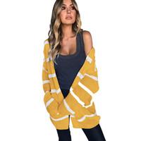 cardigan abierto amarillo al por mayor-Las mujeres de punto largo Cardigan Coat Striped frente abierta de manga larga amarillo otoño invierno moda prendas de punto bolsillos sueltos Outwear