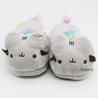 Wholesale cute anime slippers online - Cartoon Cute Cat Adult Plush Slippers Winter Warm Indoor Shoes Soft Stuffed Animal Toys Plush Dolls cm