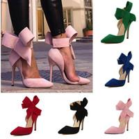 kelebek yüksek topuk ayakkabıları toptan satış-2019 Yüksek Topuk Ayakkabı Ile Moda Ayakkabı Sivri Burun Büyük Kelebek Ince Topuklu Yüksek Topuklu Kadın Elbise Ayakkabı