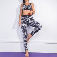 Wholesale yoga dress pants for sale - Group buy Graffiti D Printing Women Vests Pants Tracksuit Sweatsuits Hot Sale Backless Yoga Clothes Urban Style Fitness SweatSuits