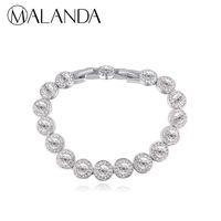 Wholesale wedding bracelets for sale - MALANDA Brand Fashion Real Round Crystal From Swarovski Silver Color Zircon Bracelets Bangle For Women Wedding Jewelry Gift