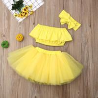 trajes de color amarillo al por mayor-Traje de falda de verano para bebé 3pcs / set con gran lazo Banda para el cabello y Top de tubo Falda de gasa corta para niños de color amarillo sólido Chica falda de diseñador M116