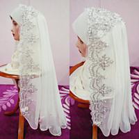 véus de casamento hijab venda por atacado-Fabuloso Véu De Noiva Muçulmano Árabe Com Pérolas Appliqued Lace Nupcial Hijab Dubai Véu Do Casamento Arábia Saudita Frete Grátis