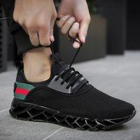 venta de zapatos tejidos al por mayor-Venta caliente de la hoja de los hombres zapatillas de deporte de diseño de gran tamaño Tendencia de la moda zapatos casuales Hombres volando tejer transpirable zapatos deportivos (7-13) Envío gratis