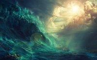 pintura a óleo velas venda por atacado-Melhor presente Fantasia Piratas Navio Barco Sailing Seascape Oil Painting Imagem Impresso Na Lona Sala de estar Quarto Wall Art Home Decor Navio