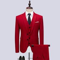 tuxedos für männer plus männer großhandel-Jacke + Hose + Weste Männer Anzug Mode 2018 Herbst Winter Slim Fit Business Kleid Anzüge Plus Größe Lässige Formelle Kleidung Hochzeit Smoking