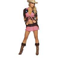 ingrosso adulti vestiti sexy halloween-New Pink Country Cowgirl Adulto Outfit Circus Costume di Halloween Masquerade Sexy West Cowboy Uniformi Gioco di ruolo Abiti A444203