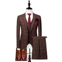 Wholesale white prom dress shawl resale online - 2019 New Fashion Mens Suits Plaid Three Pieces Wedding Suit Jacket Pants Vest Formal Prom Dress Custom Wedding Tuxedos