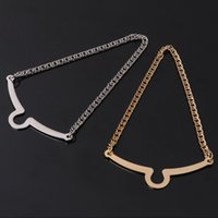 alaşım kravat toptan satış-2 adet Sıcak Satış Erkekler Kravat Zincir Altın Gümüş Alaşım Moda Papyon Takım Gömlek Takı W2952001