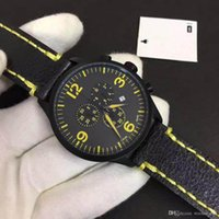 Wholesale straps bronze resale online - T116 Chronograph Quartz Best Sport Men Watch Glamorous Wristwatches Outdoor Mens Watches With Yellow Leather Strap and Markers