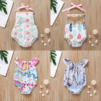 Wholesale beach tent babies resale online - Baby Girls Rompers Backless Cake Bandage Bow Elastic Arrow Tent Cactus Printed Jumpsuit Infant Toddler Clothing Summer Beach Outfits M2078
