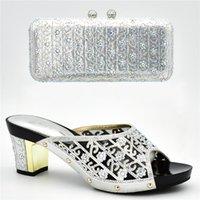 zapatos de tacón alto bolso partido al por mayor-Nueva llegada Zapatos de tacón alto de verano para mujeres Zapatos y bolsos para combinar con bombas de fiesta de mujeres nigerianas con juegos de bolsas