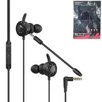 3d gaming pc großhandel-3,5 mm Gaming In-Ear-Kopfhörer mit Doppelmikrofon 3D-Stereo-Sound Position identifizieren Spiel Kopfhörer Draht Ohrhörer Gamer Kopfhörer für PC-Telefon