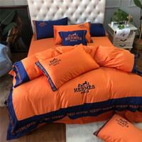folhas laranja cama venda por atacado-H Letra Cavalo Projeto Conjuntos de Cama Cor Brilhante Cor Laranja Suprimentos de Cama de Algodão 4 Peças Lençol terno