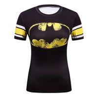 tişört batman toptan satış-Yaz Kadın Sıkıştırma Süper Kahraman Batman / superman / wonder Kadın Tshirt Stranger Şeyler T-shirt Kadın 3d Marvel Komik T Shirt Y190123