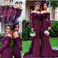 Wholesale bridesmaid dress flower shoulder strap for sale - Group buy 2020 Burgundy Long Sleeves Mermaid Bridesmaid Dresses Lace Appliques Off the Shoulder Maid of Honor Gowns Custom Made Formal Evening Dresses