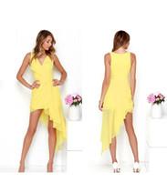 sarı uzun etekler toptan satış-V yaka sarı moda tatlı Avrupa ve Amerikan elbise Düzensiz uzun etek vestido