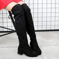 anti-rutsch-high heels großhandel-Mode-Mädchen-Boots-Absatz über das Knie Stiefel Kinder Hohe Stiefel Winter-Schuhe Anti-Rutsch-Lace Up-Kind-Mädchen-Schuhe