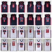 camisolas 12 13 venda por atacado-Faculdade 1992 EUA Team One Basquetebol 12 John Stockton Jersey 4 Christian Laettner 11 Karl Malone 13 Chris Mullin 15 Johnson