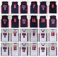 formaları 12 13 toptan satış-Üniversite 1992 ABD Takım Bir Basketbol 12 John Stockton Forması 4 Christian Laettner 11 Karl Malone 13