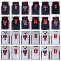 jerseys 12 13 al por mayor-Universidad 1992 EE. UU. Equipo Uno Baloncesto 12 John Stockton Jersey 4 Christian Laettner 11 Karl Malone 13 Chris Mullin 15 Johnson